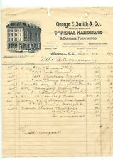 Antique Letterhead George E.Smith & Co General Hardware Halifax Nova Scotia 1909