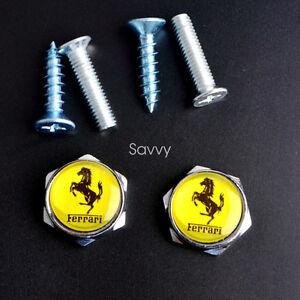 2 Pcs Separate Chrome LICENSE PLATE FRAME Bolt Screws For Ferrari Model Series