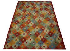 Tapis nomades Kelim Orient 201x295 cm 100% laine tissé à la main rouge orange