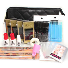 C Curl Tweezers Strip Under Patch Pad Glue Case Eyelash Extensions Set+Black bag