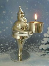 Pottery Barn Silver Plated Santa Claus Tealight Christmas Candle Holder