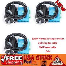 3axis Closed Loop Stepper Motor 12nm Nema34 Hybrid Servo Driver 3m Encoder Lline