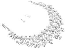 Brautschmuck Hochzeit Schmuckset Kette Silber Ohrringe Perlen Weiß Kristall klar
