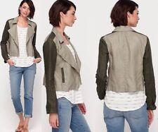 PL Eileen Fisher Stone Coated Organic Linen Colorblock Asymmetric Zip Jacket