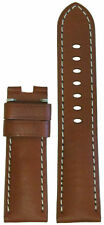 24mm Panatime Lt Brown Vintage Leather Watch Band w WS For Panerai Deploy