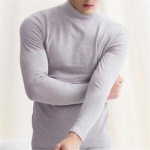 Men Long Sleeve T-shirt Turtleneck Jumper Undershirt High Neck Tee Tops Fashion