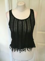 Topshop Fringe Vest Crop Top Black (Size 6,8 or 10) RRP £15