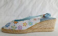 Moshulu Womens Ladies Blue White Wedge Summer Sling Backs Sandals Size 7/40 Used