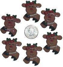 6 PC CHRISTMAS REINDEER FLATBACK FLAT BACK RESINS
