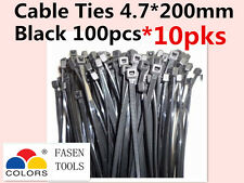 1000Pcs Black Electrical Nylon Cable Zip Ties (4.7mm x 200mm) UV Stabilised