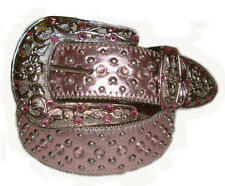 WESTERN RHINESTONE STUDDED LEATHER BELT L 36 PINK