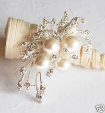 Rhinestone Crystal Pearl Brooch Wedding Cake Decoration BR006