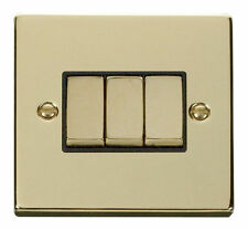 Polished Brass 3-Gang Electrical Home Light Switches