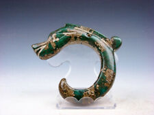 Old Nephrite Jade Carved HongShan Culture Sculpture C Shape Dragon #03302006