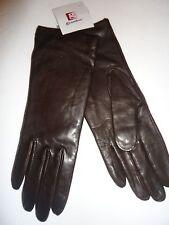 Ladies Grandoe Genuine Leather 100% Cashmere Lined Gloves,Brown, Medium