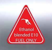 Ethanol-blended  91 fuel ONLY sticker red and white triangle vinyl quality 50 mm