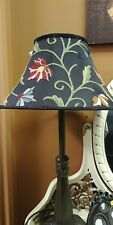 Victorian Trading Co Silk Wool Embroidered Wildflowers Floral Black Lamp Shade