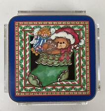 New ListingPimpernel Coasters 6 Christmas Bears Cork England Holiday Stocking Lucite Vtg