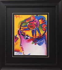 "Peter Max ""The M Series Profile w/ Hat"" CUSTOM FRAMED Print Art POP psychedelic"