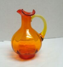 Vtg Orange Blown Glass Pitcher Yellow Handle Amberina Pontil Small