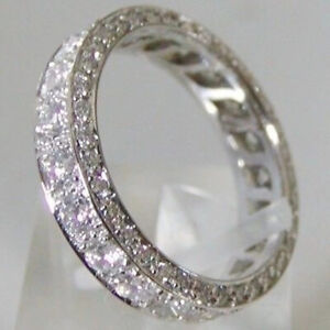 3.56 TCW Round Cut Moissanite Eternity Engagement Ring In 14K White Gold Plated