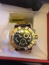 Swiss Made Invicta Reserve 18k Gold Plated SS Chronograph Gray Dial Mens Watch