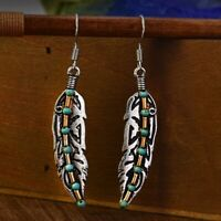 Boho Antique 925 Silver Plated Feather Turquoise Bead Drop Dangle Hook Earrings