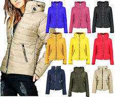 Ladies Stylish Padded Puffer Bubble Fur Collar Quilted Warm Thick Jacket Coat