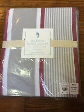 POTTERY BARN KIDS JACKSON DUVET TWIN RED GREY STRIPE NEW IN PACKAGE