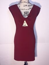 Love Culture Twist Open Front Bodycon Midi Dress Womens Size L Large Burgundy