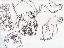 """""""BULL DOG SKETCHES"""" by Ruth Freeman  INK SKETCH  8 1/2"""" X 10 3/4"""""""