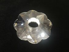 "Vintage Rare Swarovski Clear Crystal Multifaceted Bobeche, 3 1/2"" D, 4 Pin Holes"