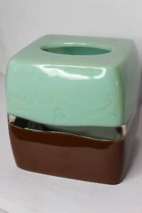 """Square Tissue Box Cover Resin Green Mint Brown Clear 6""""x6"""" Boho Earthy Neutral"""
