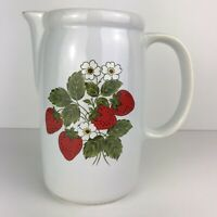 """Vintage McCoy 1429 Strawberry Serving White Pitcher Pottery 7"""" Tall Made in USA"""