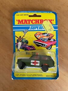 Vintage 1971 Matchbox Lesney Superfast No. 20 Green Ambulance Die Cast MIP NOS