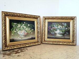 Pair Of Gold Vintage Framed GALLEY 90s Floral Still Life Prints