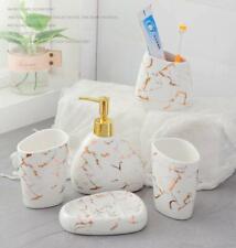 Ceramic Marble 5pcs Bathroom Accessories Set Soap Dish Dispenser Toothbrush Hold