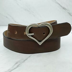Brown Thick Genuine Leather Heart Buckle Belt Size Small S 32