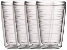 Boston Warehouse Insulated Plastic Tumblers, 16-Ounce, Set of 4,Clear Collection