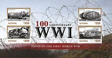 Guyana 2014 MNH World War I 100th Anniv Tanks 4v M/S WWI Saint-Chamond Stamps