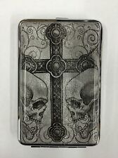 Stainless Steel Id Cigarette Credit Card Case Cross Skulls Grey (New)