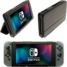 Black Folio PU Leather Flip Case for Nintendo Switch Cover with Foldable Stand