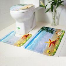 3Pc Starfish Ocean Bathroom Set Bath Mat Contour Rug Toilet Lid Cover Multicolor