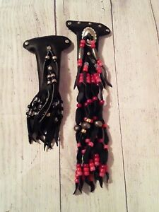 Lot of 2 Bikers Leather Fringe Hair Accessory Barrette Clips Beaded with Beads