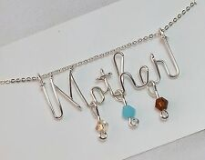 Mother Necklace with up to 3 Birthstones Sterling Silver .925 Wire  - Mom