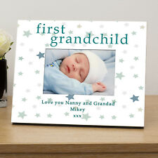 First Grandchild Wooden Photo Frame 6x4 -personalised Baby Grandparents Gift