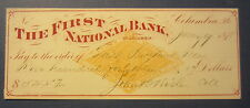 Old 1878 First National Bank of COLUMBIA PA. - Bank Check - Revenue Stamp