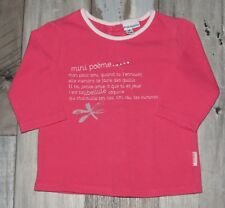 ~ P'TIT BISOU ~ Tee-shirt ML rose imprimé fille 1 mois 55cm ~ MINI POEME