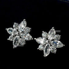 18ct white gold made with swarovski crystal wedding ladies stud earrings
