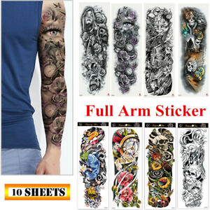 10 Sheets Fake Temporary Tattoo Large Full Arm Sticker Waterproof Black Color